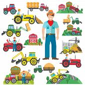 pic of truck farm  - Farm tractor and industrial excavator driver icons set flat isolated vector illustration - JPG