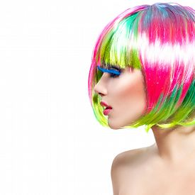 foto of hair dye  - Beauty Fashion Model Girl with Colorful Dyed Hair - JPG