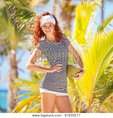 Fashion woman on the beach background