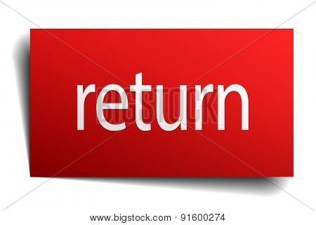 Return Red Paper Sign Isolated On White