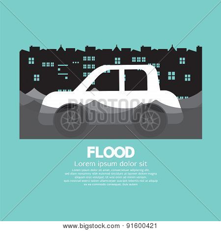 Car's Side View In A Flood.