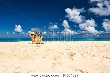 Beautiful beach with bag at Seychelles, La Digue