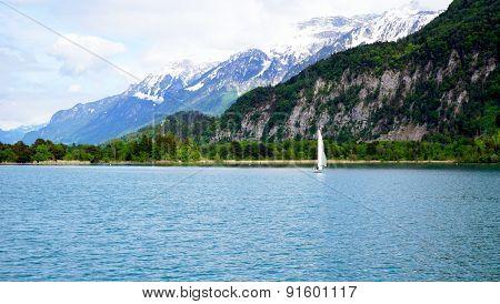 Scenic Of Thun Lake And Sail Boat