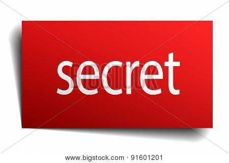 Secret Red Paper Sign Isolated On White