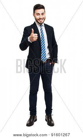 Full length portrait of a friendly businessman