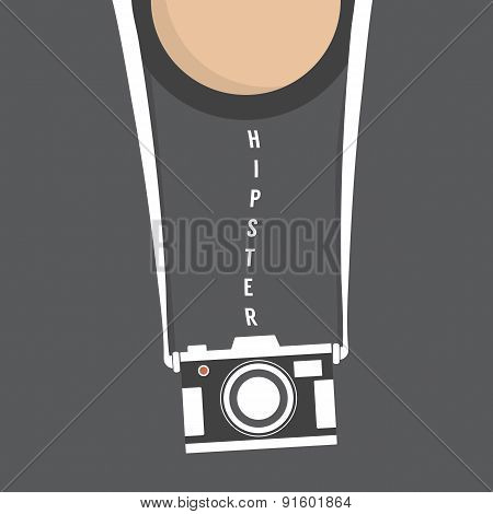 Hipster Person With Retro Camera.