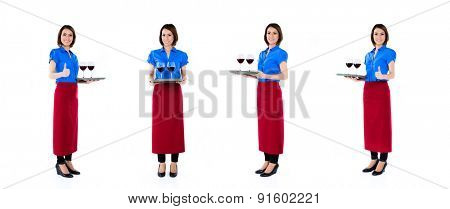 Asian waitress with wine on a tray, compositing of four scenes, isolated on white background