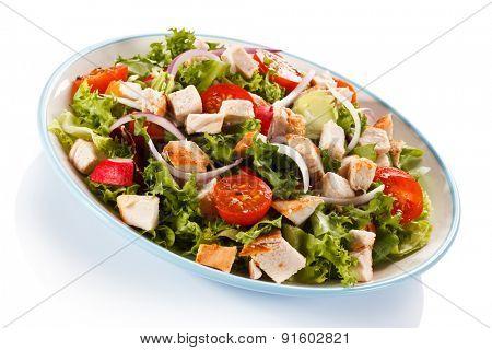 Caesar salad on white background