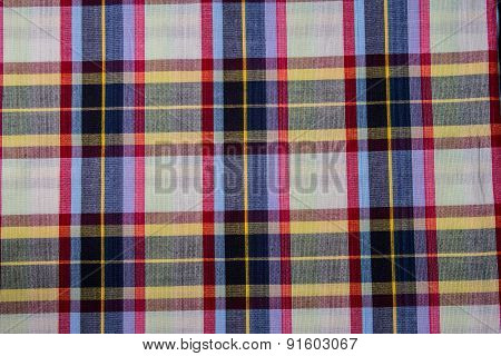 Plaid Cotton Fabric Of Colorful Background And Abstract Texture