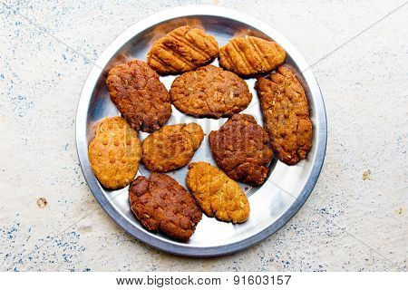 Close-up of Indian home made biscuits called