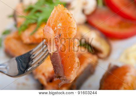 Grilled Samon Filet With Vegetables Salad