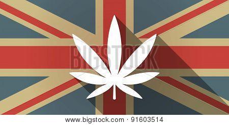 Uk Flag Icon With A Marijuana Leaf