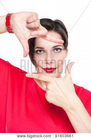Beautiful Plus Size Woman Looking Through Hands Frame