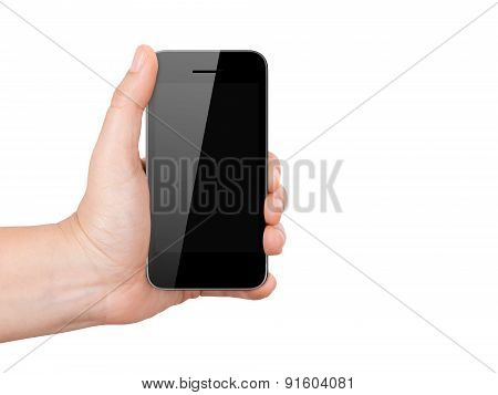 Mobile Phone With Blank Screen Holding By Hand
