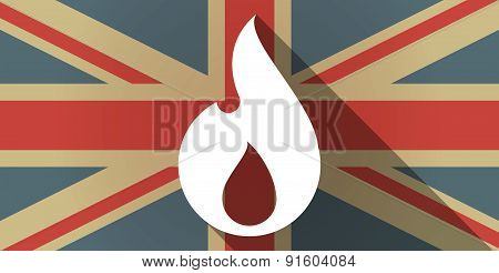Uk Flag Icon With A Flame
