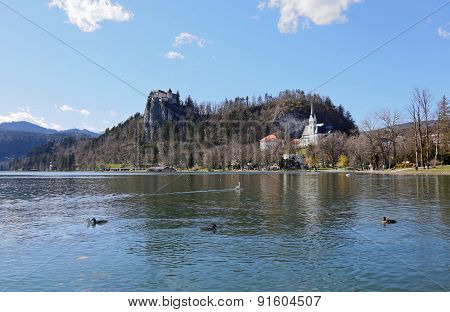 Castle On The Hill Near The Lake Bled In Slovenia