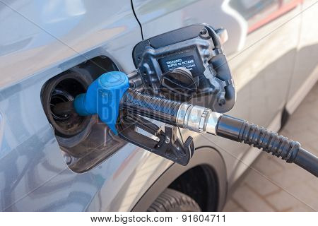Passenger Car Fueled With Petrol At A Petrol Station