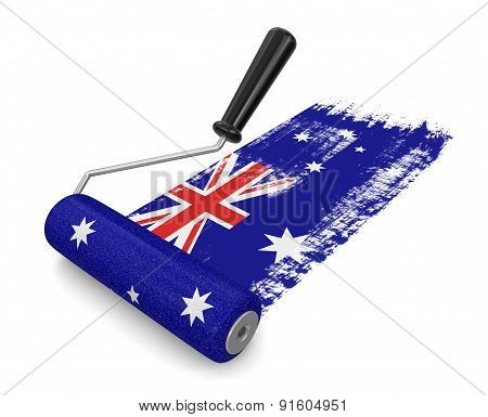 Paint roller with Australian flag (clipping path included)