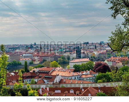 Panoramic view of Old Town Prague with Charles Bridge, Prague, Czech Republic