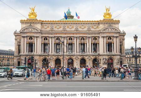 Palais Garnier, Front View Of Opera House In Paris