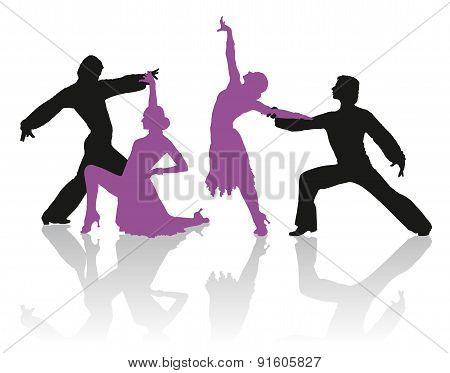 Silhouettes Of Couple Dancing Ballroom Dance