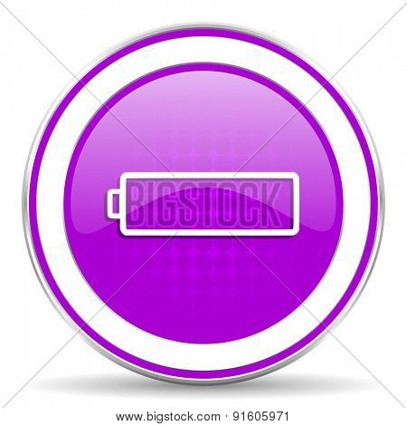 battery violet icon charging symbol power sign