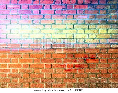 Bule Ocean and sky on Red Brick wall