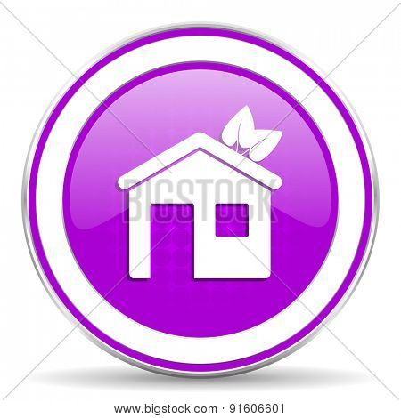 house violet icon ecological home symbol