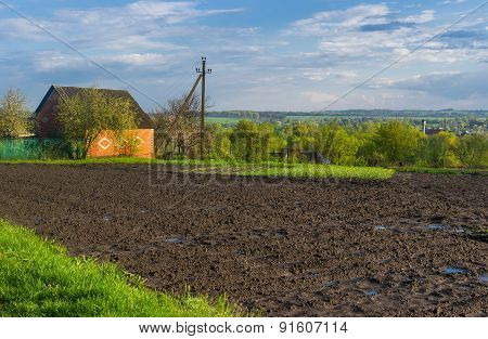 Spring landscape in Ukrainian country