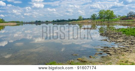 Landscape with lake Kozachy Liman in Chernetchina village central Ukraine