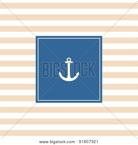 Nautical vector card with anchor, navy blue background and pastel white stripes