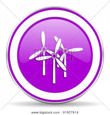 windmill violet icon renewable energy sign