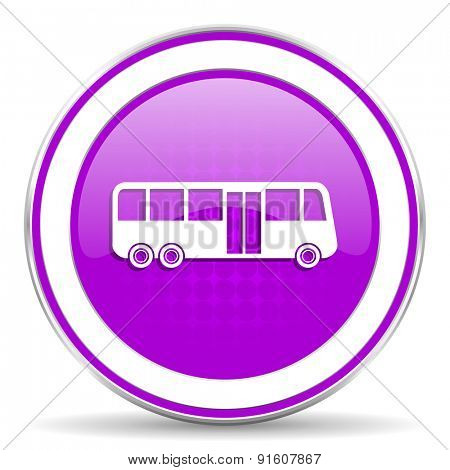 bus violet icon public transport sign