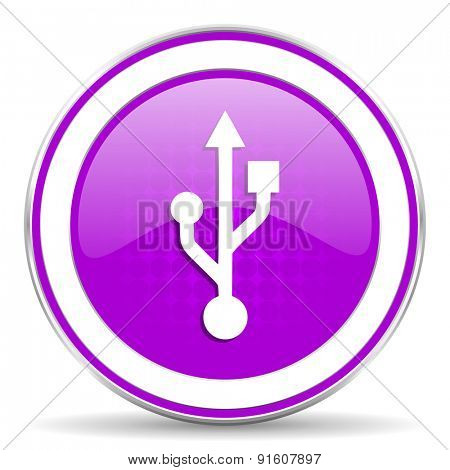 usb violet icon flash memory sign