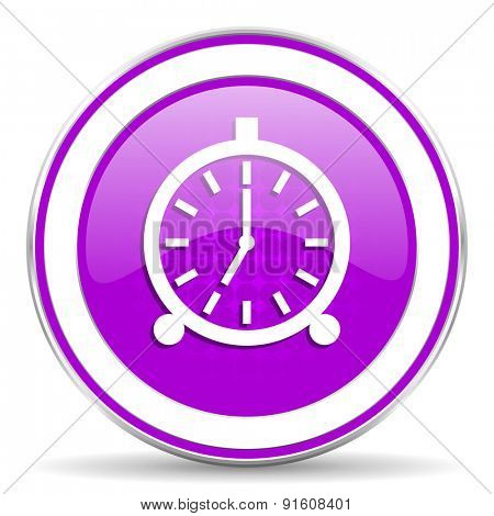 alarm violet icon alarm clock sign