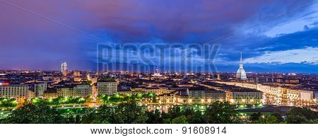 Turin (torino), Hd Panorama At Twilight