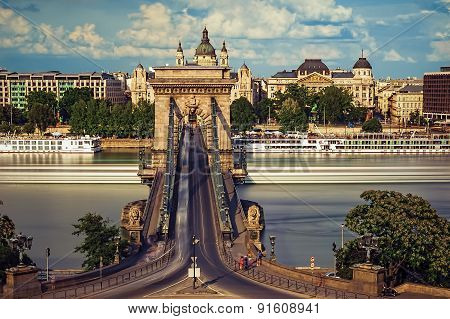 The Szechenyi Chain Bridge And The Basilica And - Budapest Hungary