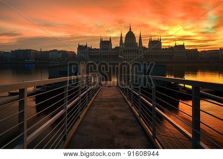 Long Exposure Image Of The Hungarian Parliament And Dock No 1 In Budapest