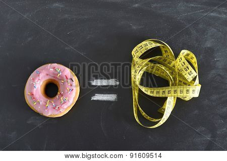 Donut And Tailor Measure Tape On Blackboard In Sugar Sweet Abuse And Addiction Equal Body Overweight