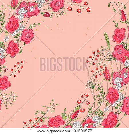 Backdrop with herbs, roses, berries and wild flowers on white. Frame for your design, greeting cards, announcements, posters.