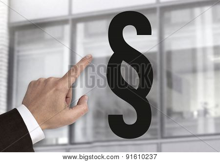 Hand Pointing At Paragraph Sign Concept