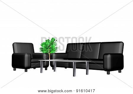Black sofa on an isolated background