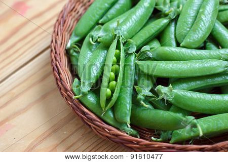 Fresh Green Peas In A Basket
