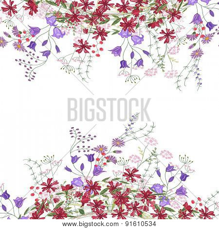 Detailed contour square frame with herbs, bluebells and wild flowers isolated on white. Greeting card for your design, greeting cards, wedding announcements, posters.