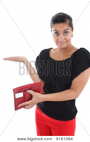 Attractive Woman With Empty Wallet