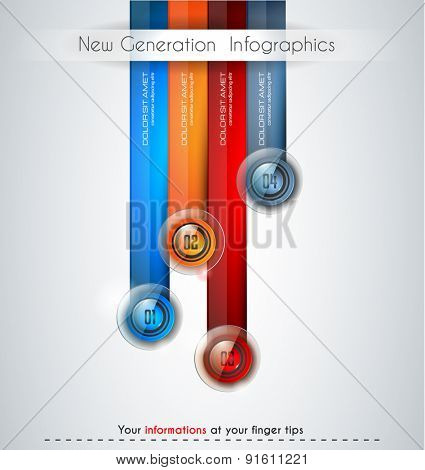 Infographics modern template to classify data and informations with an original touch. Sketches, Glass effect elements, icons, reflections and shadows are made to maximize the visual impact.