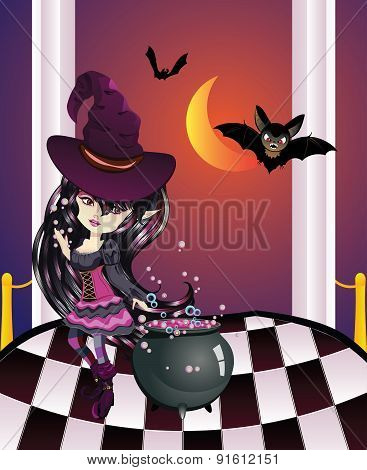 Halloween Witch On Balcony
