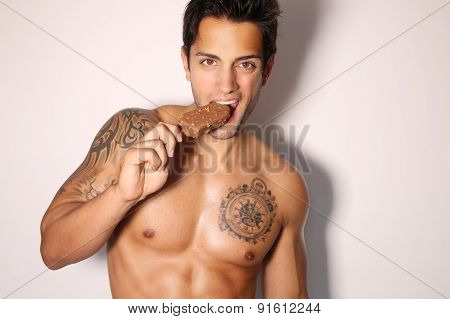 sexy man eating ice cream