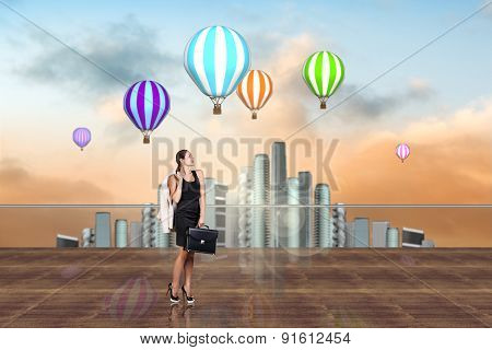 Businesswoman on the roof