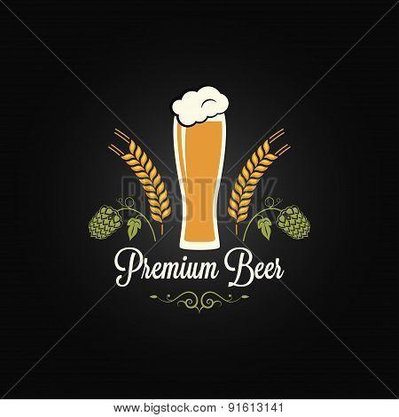 beer glass hops barley design background